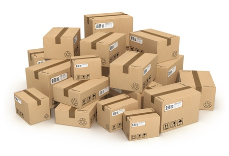 Heap of cardboard boxes isolated on white background photo
