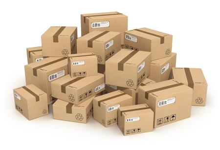 product box: Mucchio di scatole di cartone isolato su sfondo bianco