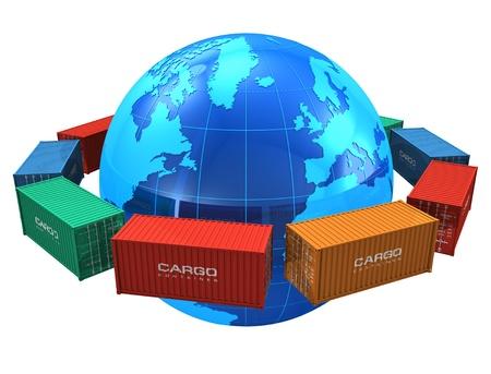 commerce: Notion d'exp�dition dans le monde: rang�e de conteneurs de fret de couleur autour du globe terrestre bleu isol� sur fond blanc
