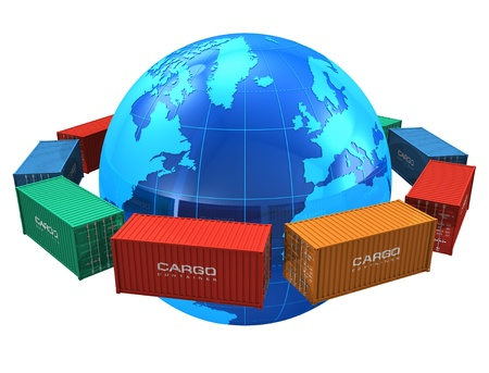 international shipping: Worldwide shipping concept: row of color cargo containers around the blue Earth globe isolated on white background