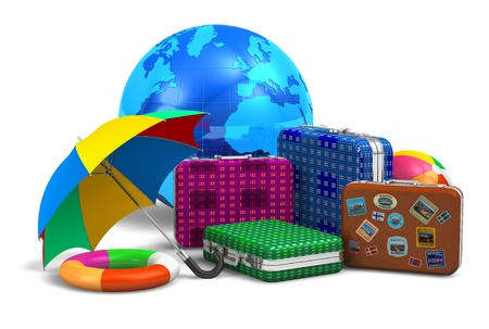 Travel, tourism and vacation concept: set of travel cases, umbrella, beach buoy, ball and blue Earth globe isolated on white background  photo