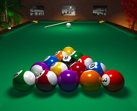 billiards room: Close view of billiard table with balls in entertainment club