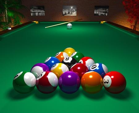 pool bola: Primer plano de mesa de billar con bolas en el club de ocio