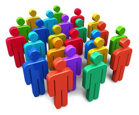 figuras humanas: Concepto de red social: grupo de figuras humanas de color sobre fondo blanco