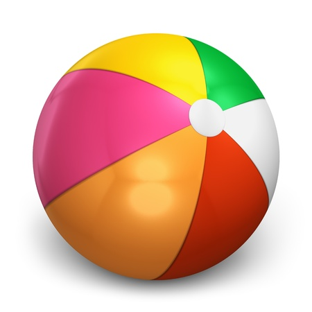 pool balls: Color beach ball isolated on white background Stock Photo