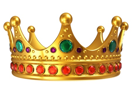 king crown: Golden royal crown isolated on white background