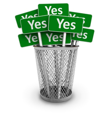Voting concept: Set of green Yes signs in metal office bin isolated on white background photo