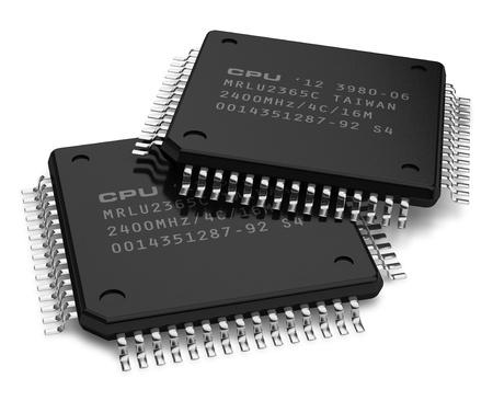 transistor: Conjunto de microchips modernos aisladas sobre fondo blanco