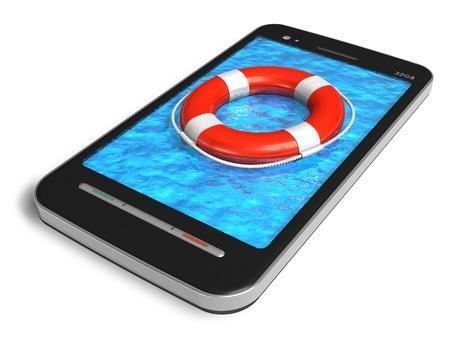 alerta: Concepto de servicio de emergencia m�vil: smartphone con pantalla t�ctil con el cintur�n de salvavidas aisladas sobre fondo blanco