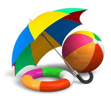 ombrellone spiaggia: Articoli da spiaggia: ombrellone a colori, palla e salvagente isolato su sfondo bianco