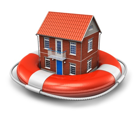Real estate insurance concept: residential house in red lifesaver belt isolated on white background