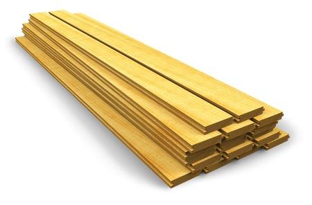Pila de tablones de madera de construcción aisladas sobre fondo blanco Foto de archivo