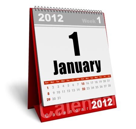 calendario escritorio: Calendario de escritorio 2012 aislados sobre fondo blanco Foto de archivo