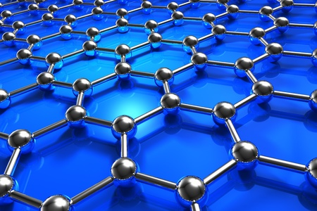Abstract blue molecular nanostructure model photo