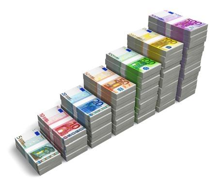 dinero euros: Gráfico de barras de diferentes billetes en euros aisladas sobre fondo blanco