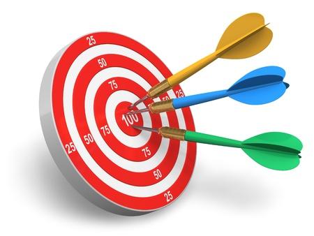 shooting target: Darts spel: rode cirkel doelgroep en kleur pijlen op witte achtergrond Stockfoto