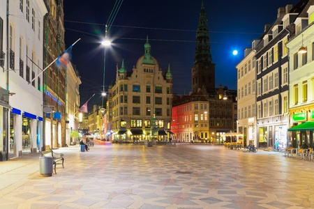 town halls: Scenic night view of the Old Town in Copenhagen, Denmark Stock Photo