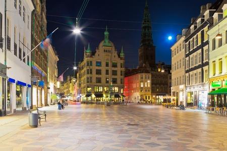 copenhagen: Scenic night view of the Old Town in Copenhagen, Denmark Stock Photo