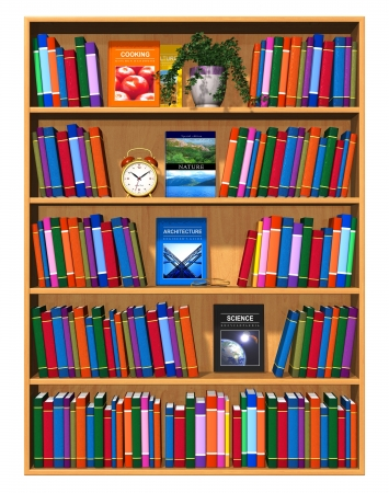 Wooden bookcase with lot of color books isolated on white background photo