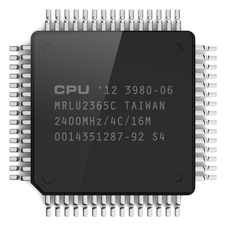 Modern computer microchip isolated on white background