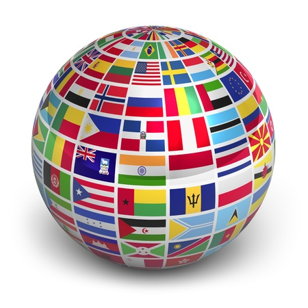 Globe with world flags isolated on white background photo