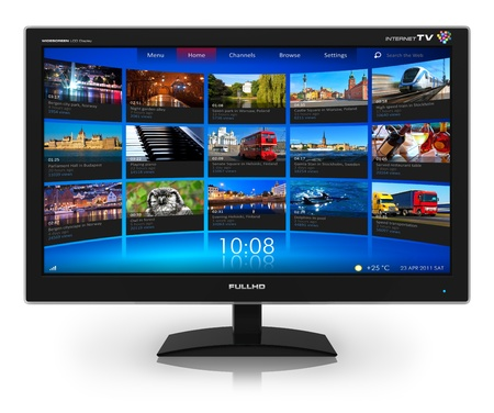 flat panel monitor: Widescreen TV with streaming video gallery isolated on white reflective background