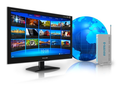 lcd tv: Internet television concept: widescreen TV with streaming video gallery, blue Earth globe and wireless router isolated on white reflective background