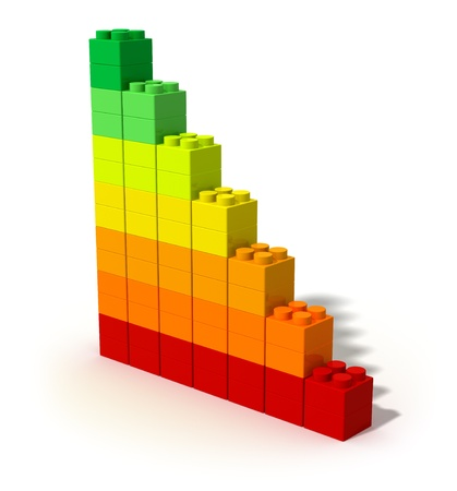 eficiencia energetica: Concepto creativo de la eficiencia energ�tica aisladas sobre fondo blanco