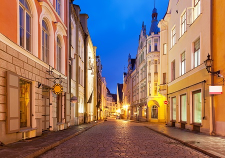 Scenic view of the evening street in the Old Town in Tallinn, Estonia photo