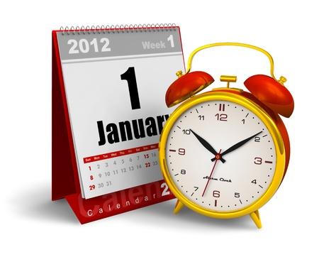 Desktop calendar and vintage analog alarm clock isolated on white background Stock Photo - 11788848