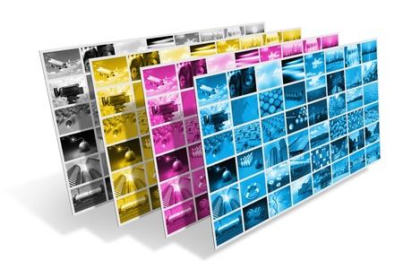 imprenta: Proceso de impresión CMYK concepto
