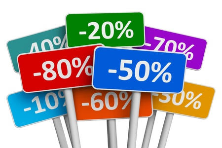 low prices: Sale and discount concept: set of color signs with discount percents isolated on white background