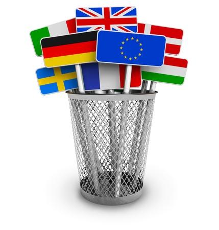 allen: Set van kleurrijke borden met vlaggen ter wereld in functie emmer op een witte achtergrond Stockfoto