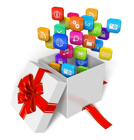 app store: Software and multimedia concept: cloud of application icons in the gift box isolated on white background