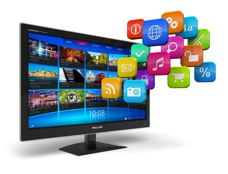 Internet television concept: widescreen TV with streaming video gallery and cloud of application icons isolated on white background  Stock Photo