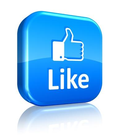 Los medios sociales y el concepto de red: Al igual que el botón azul sobre fondo blanco reflectante Foto de archivo