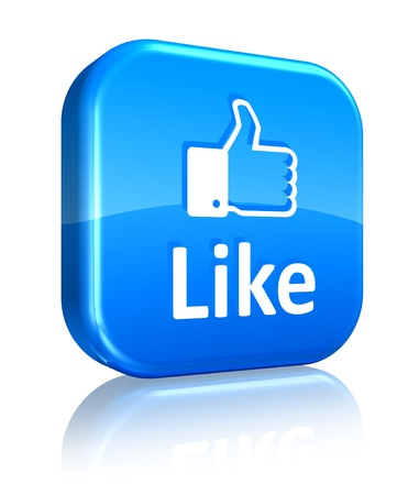 like icon: Social media and network concept: blue Like button isolated on white reflective background Stock Photo