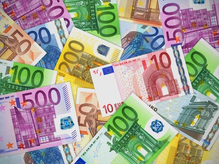Financial concept: heap of different Euro banknotes photo
