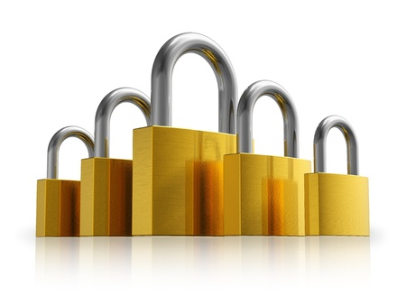 Security concept: set of different size metal padlocks isolated on white reflective background photo