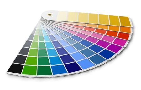 Paleta de colores Pantone guía aisladas sobre fondo blanco