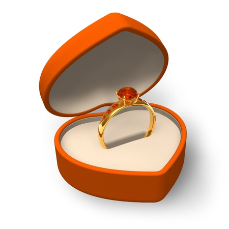 Orange heart-shape box with golden ring with jewels isolated on white background Stock Photo - 11788844