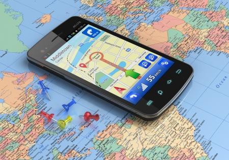 gps navigation: Pantalla t�ctil de tel�fono inteligente con la navegaci�n GPS en el mapa del mundo