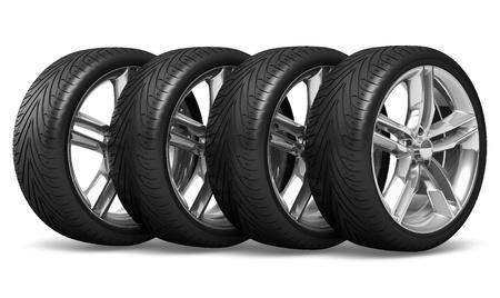 huellas de llantas: Conjunto de cuatro ruedas de los coches aislados sobre fondo blanco