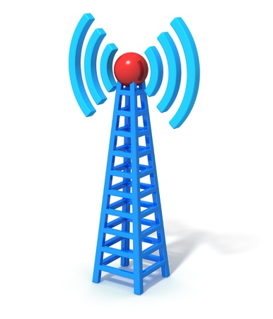 Blue wireless communication tower isolated on white background photo