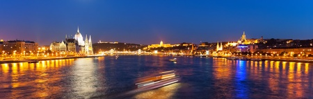 Scenic wide night panorama of Budapest, Hungary photo