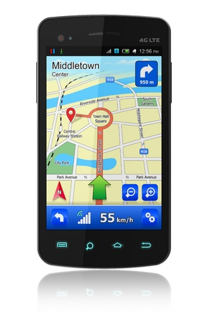 gps: Touchscreen smartphone with GPS navigation isolated on white reflective background