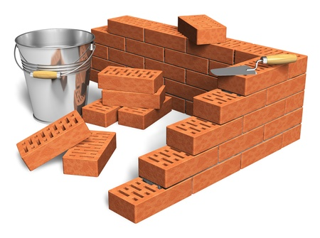 Construction industry concept: fragment of red brick wall, heap of bricks, trowel and metal bucket isolated on white background photo