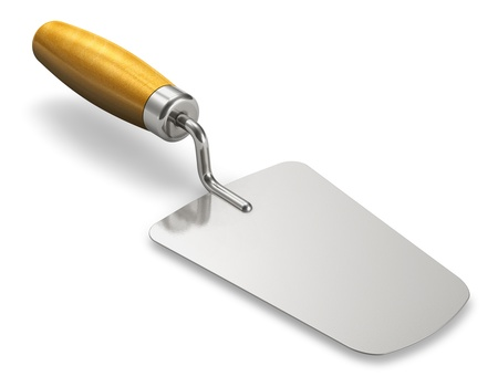 construct: Metal construction trowel with wooden handle isolated on white background Stock Photo
