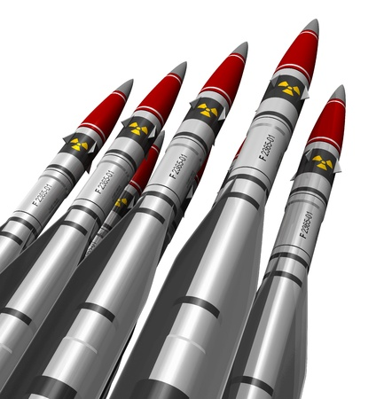 atomic: Group of heavy nuclear missiles isolated on white background Stock Photo