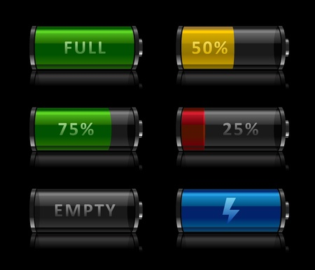 button batteries: Set of black glossy battery level icons on black background Illustration
